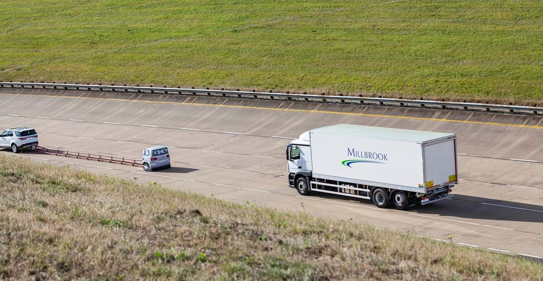 Truck active safety Advanced Driver Assistance Systems (ADAS) testing at Millbrook